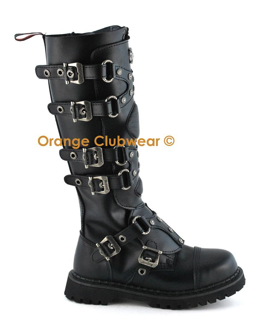 DEMONIA GRAVEL-22 Leather Gothic Punk Mens Combat Boots
