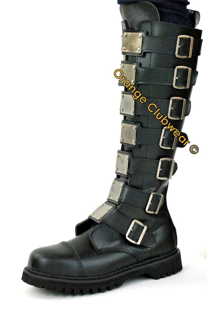 DEMONIA REAPER-30 Punk Gothic Leather Men's Knee Boots