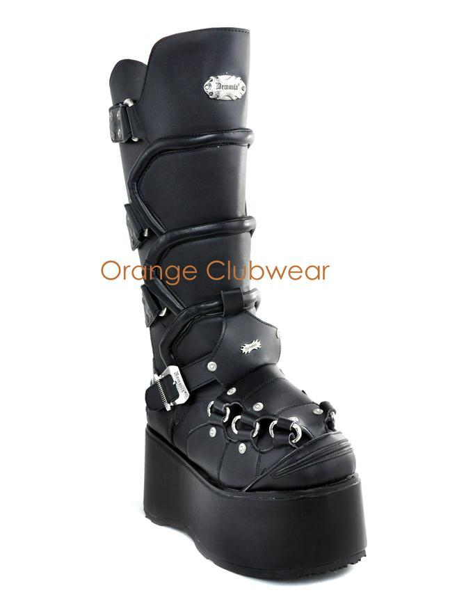 DEMONIA WICKED-732 Mens Gothic Platform Knee High Cyber Armor Goth Boots Shoes