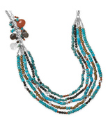 Multistrand Turquoise and Multibead Necklace - $489.95