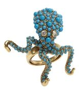 Kenneth Jay Lane KJL Antique Gold   Turquoise Dots Octopus Ring