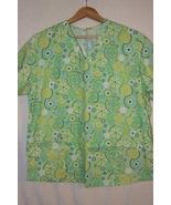 Mint Green Women's Scrub Top Colorful Flower Pr... - $6.99