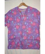 Purple Women's Scrub Top Colorful Peace Symbol ... - $6.99
