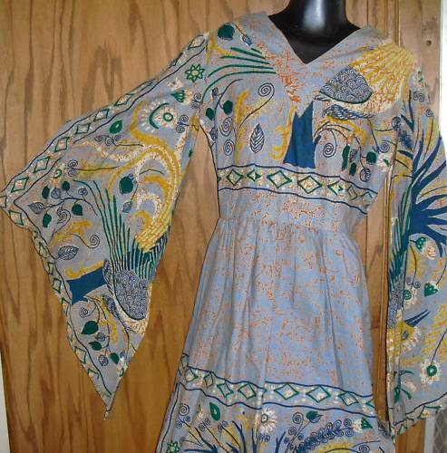 Vtg VIKINGA'S Mexico Hippie Caftan Dashiki Maxi Dress
