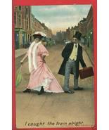 BAMFORTH COMIC CAUGHT THE TRAIN 1907 PARASOL PO... - $7.07