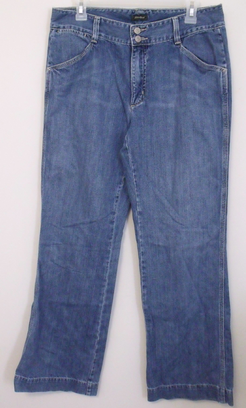Womens Eddie Bauer Denim Blue Jeans Boot Cut Size 12 Tall
