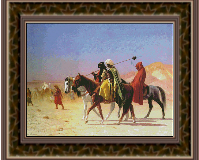 Arabs Crossing the Desert, Fine Art Counted Cross Stitch Pat