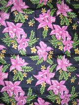 Vintage 40s 50s Orchid Print Fabric Glazed Cotton - $130.00