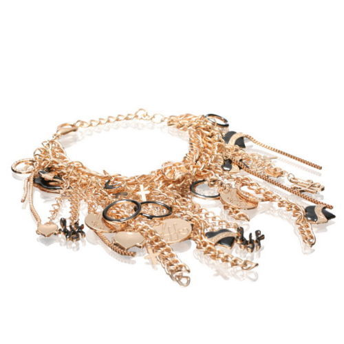 NEW $58 ASOS Multi Row Chunky Chain Charm Bracelet