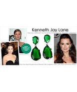 NEW Kenneth Jay Lane EMERALD Swarovski Crystal Tear Drop Pierced Earrings  - $118.00