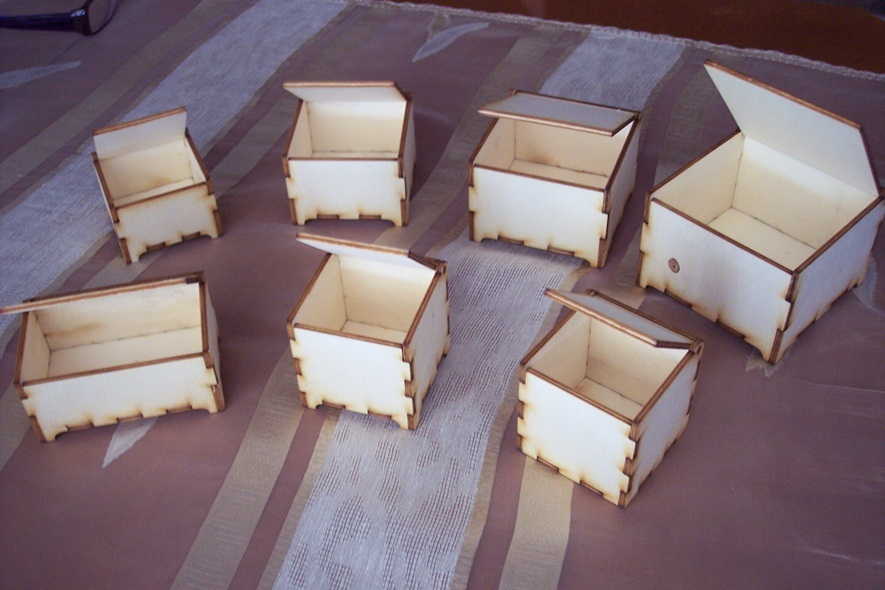 Wooden Boxes set - 7 different pieces