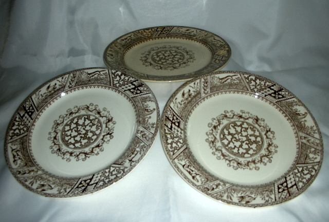 WEDGWOOD & CO Dinner Plates 1880's Victorian MELTON Pattern Brown Transferware