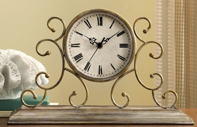 Metal Scroll Brushed Antique Finish Round Face Mantel Desk Clock Home Decor
