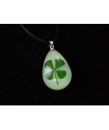 Shamrock Four Leaf Clover Drop Necklace - $6.99