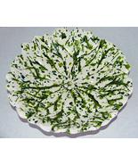 Vintage Art Pottery Green Flecked Leaf Shape Bowl - $14.95