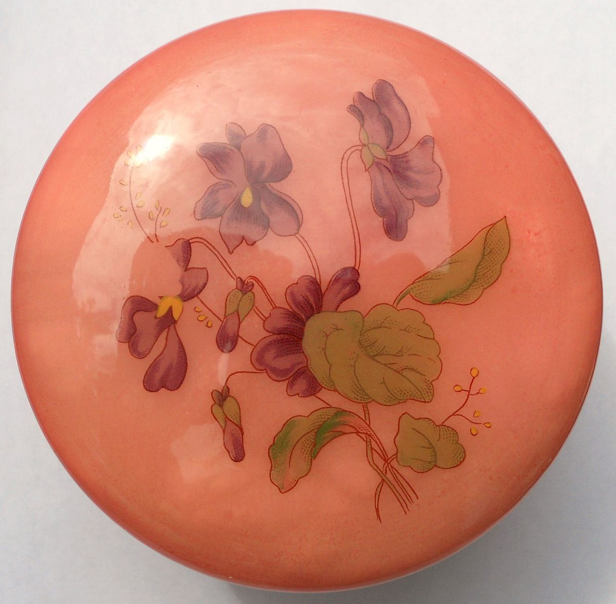 Genuine Alabaster Trinket box hinged dark pink floral Italy
