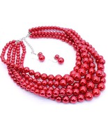 Red faux pearl layered fashion necklace set chu... - $19.79