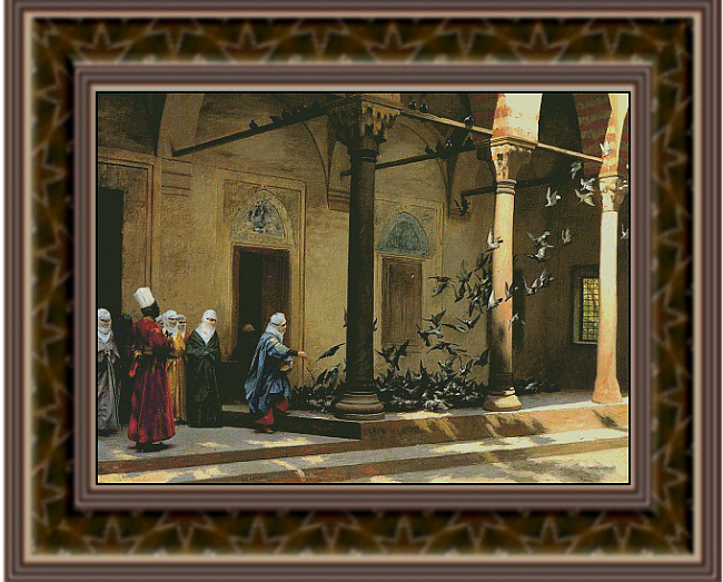 Harem Women Feeding Pigeons in a Courtyard, Fine Art Counted