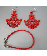 Gorgeous Red Wooden Earring and Braided Bracele... - $15.00