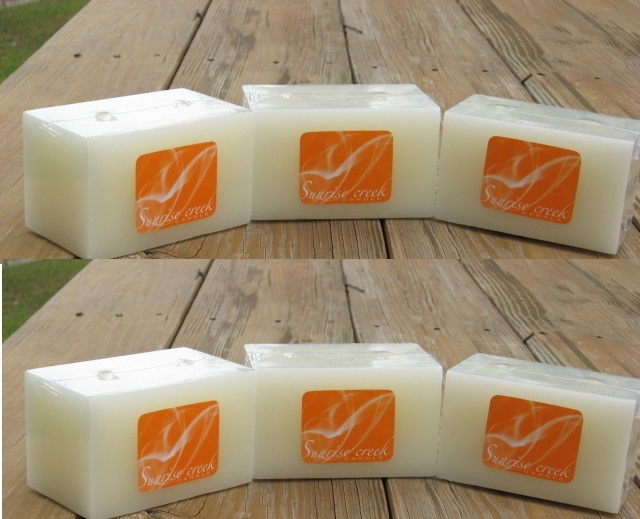 6 Large Double Wick Vanilla Scented Square Brick Candles