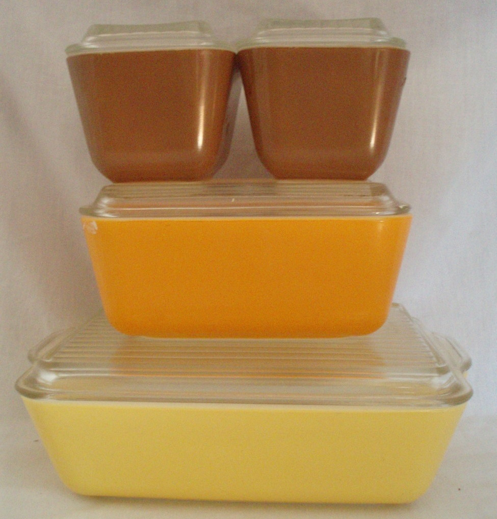 Pyrex Refrigerator dish 8 Pc set Vintage autumn colors