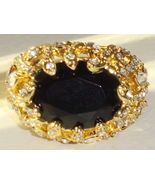 NOIR nOir Black Gold & CZ Cocktail Ring Size 8 ... - $47.87