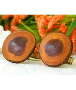 Vintage Mens Cufflinks Wood Wooden Round Rustic... - $9.95