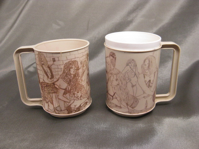 Pair 1960's Dark Folk Art San Quentin State Prison Coffee Mugs