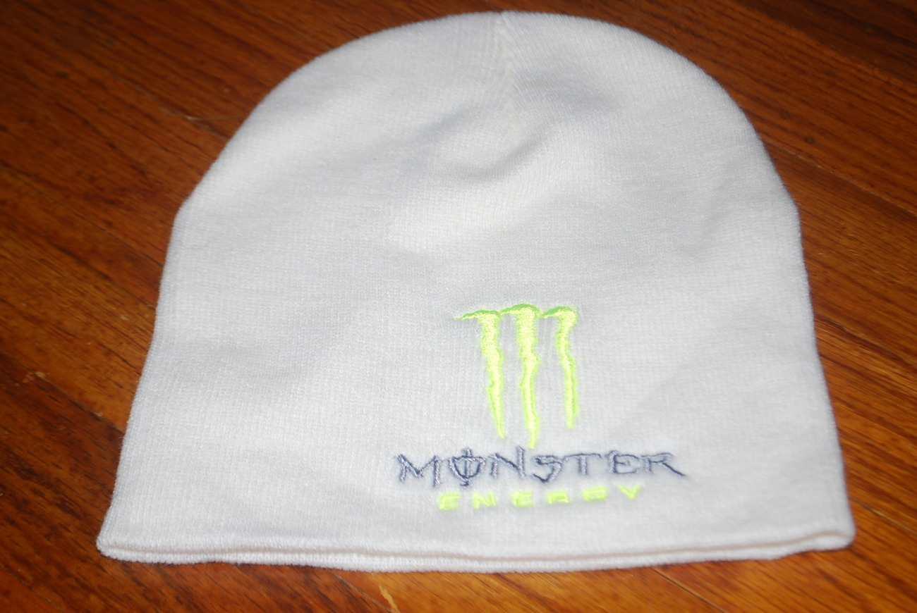 Buy monster energy hats Hats - Monster Energy Drink White Embroidered Skull Beanie Hat