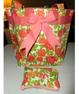 SALMON & PINK FLORAL ROSE GARDEN FABRIC RIBBON ... - $11.99
