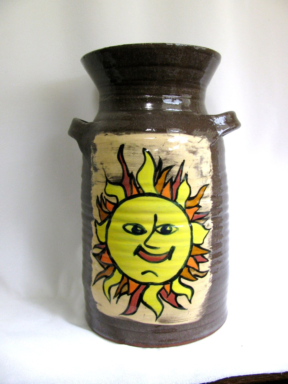 Large Red Stoare Sun Moon Jar RKC074