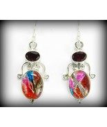 Metallic Reds Dichroic Fused Glass with Garnets... - $64.32