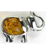 Honey Amber Elephant with faceted Black Onyx Ey... - $47.04