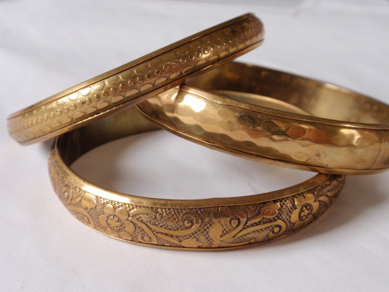3 Brass Bangle Bracelets, Floral, Hammered, Textured Designs