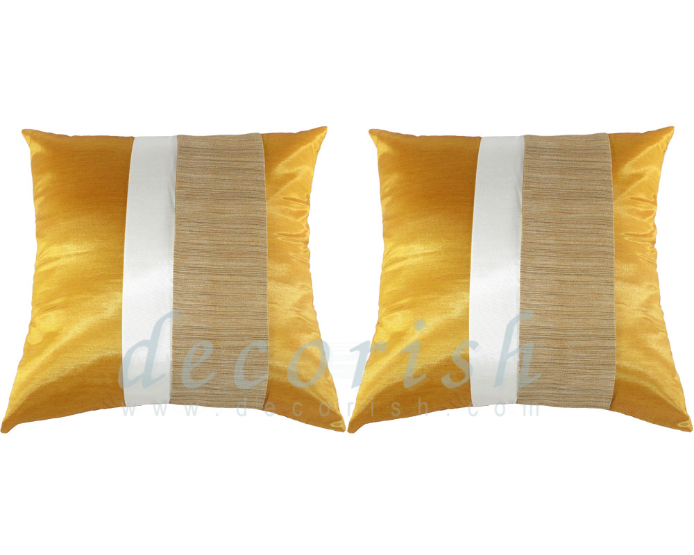 2x Yellow Gold Contemporary Silk Throw Decorative Pillow Cover for couch & bed - Pillows