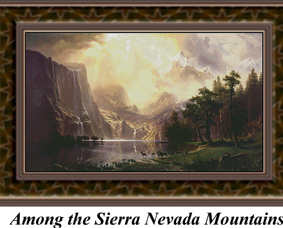 Among the Sierra Nevada Mountains  Trees Counted Cross Stitc