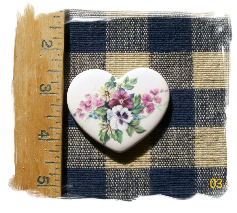 Mosaic Tiles~*PANSY HEART~ HM Kiln Fired Focal Pendant