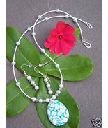 Teal Mosaic Pendant Shell Necklace Earrings Jew... - $14.00