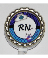 RN Nurse ID badge holder w retractable reel pb