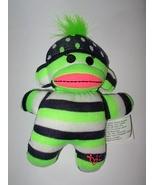 Justice Sock Monkey Plush Green Black Polka Dot... - $9.88