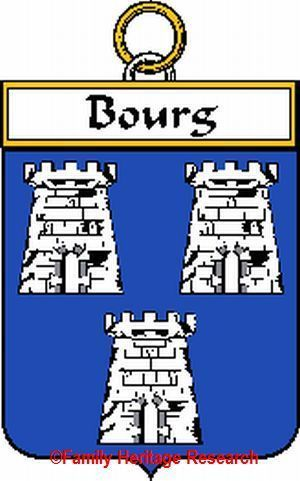BOURG French Coat of Arms Print BOURG Family Crest