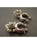 14k White Gold Posts Dangle Huggie Hoop Earring... - $70.00