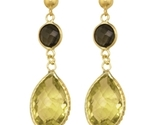 Buy Lemon Quartz & Smokey Topaz Gold Earrings