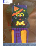 Orange Witch Hat Black Cat Halloween Wind Sock - $4.99