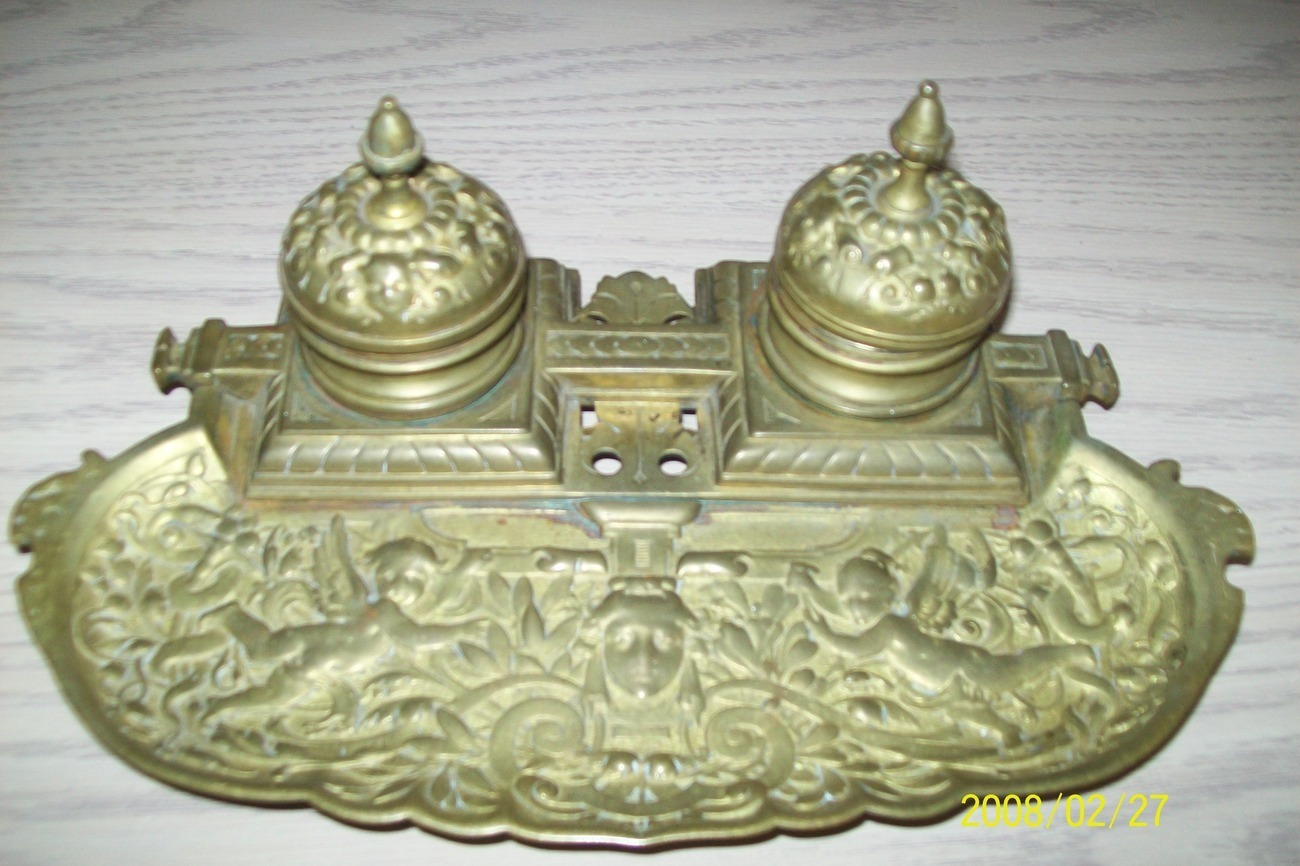 Brass Double Ink Well With Cherubs Art Nouveau #3348