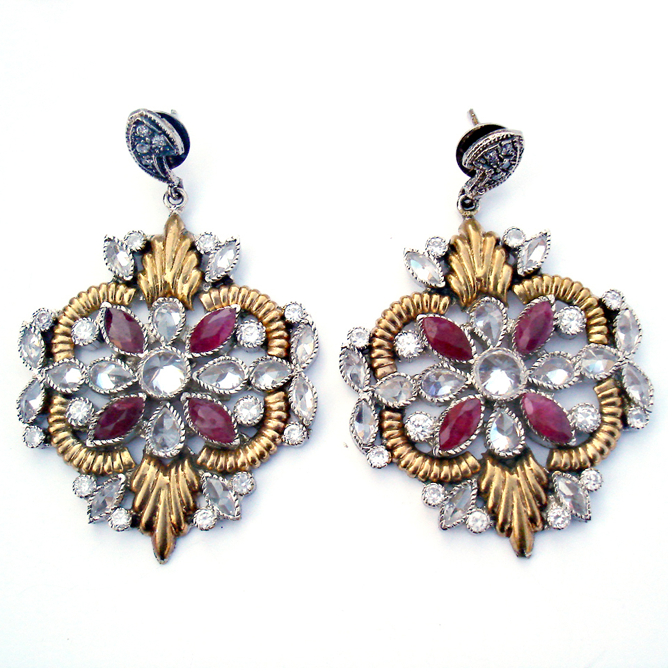 Handmade Antique Gold Polish Ruby and American Diamond Earrings