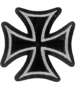 Embroidered Patch Iron Cross Silver and Black P... - $3.22