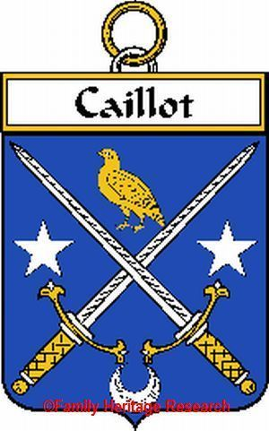 CAILLOT French Coat of Arms Print CAILLOT Family Crest