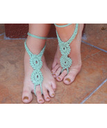 Crocheted Barefoot Sandals Double Flowers w/sid... - $12.00