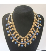 Hobe Egyptian Revival Faux Lapis Lazuli Necklace. c. 1960s